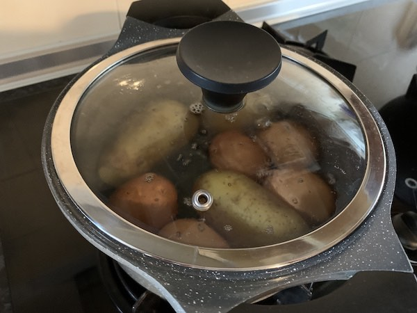 boiling potatoes and eggs